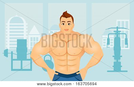 Fitness Concept With Sport Bodybuilder Man. Muscular Models. Mens Physique Athlete In A Fitness Gym