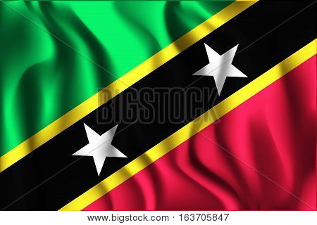 Flag Of Saint Kitts And Nevis. Rectangular Shaped Icon With Wavy Effect