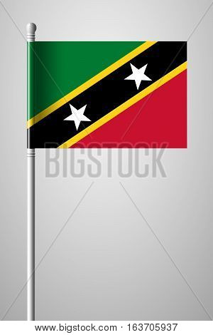 Flag Of Saint Kitts And Nevis. National Flag On Flagpole