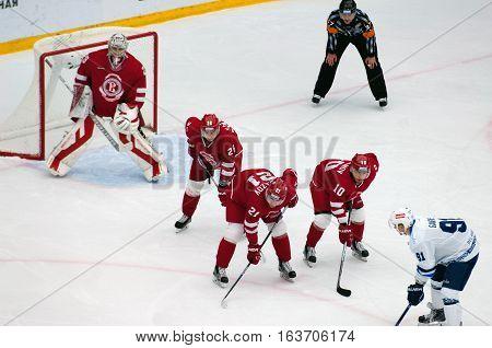 D. Tsyganov (10), N. Vyglazov(21), E. Katichev (26) On Faceoff