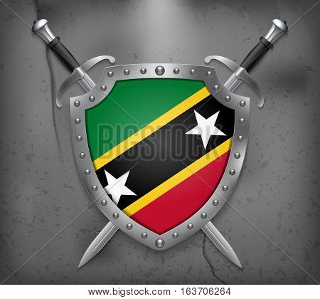 Flag Of Saint Kitts And Nevis. Vector Medieval Background