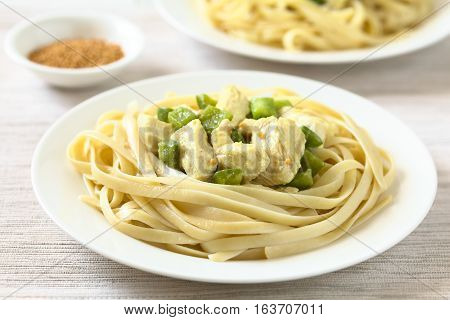 Chicken with green bell pepper and onion in mustard cream sauce on fettuccine pasta photographed with natural light (Selective Focus Focus in the middle of the image)