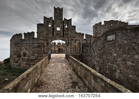Medieval city walls of Rhodes town in Greece.