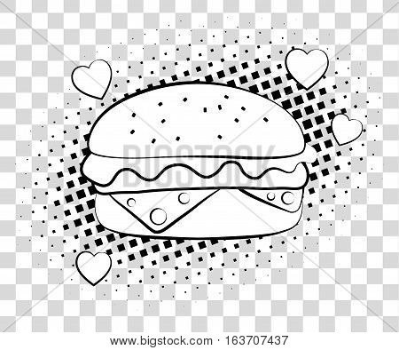 Comic Hamburger With Halftone Shadows. Fast Food Background Pop Art Retro Style. Vector Illustration
