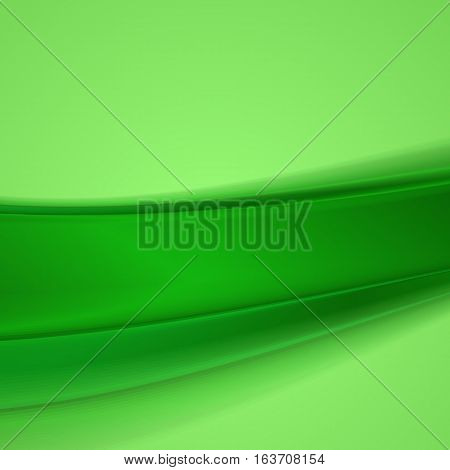 Abstract green wavy background. Vector illustration .
