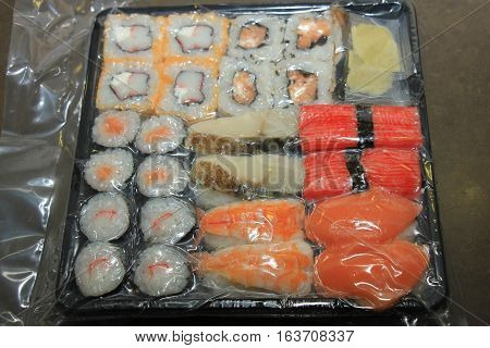 Japanese sushi different sorts and vacuum packed