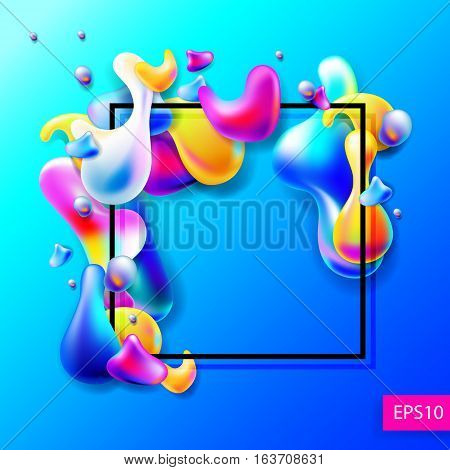 abstract bright colorful plasma drops shapes with a black square frame pattern isolated on blue background for banner, card, poster, web design, vector illustration collection eps10
