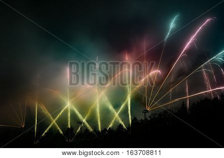 Great fireworks show with many rockets in the air