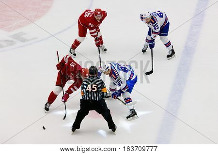 V. Shipachyov (87) And R. Horak (15) On Faceoff