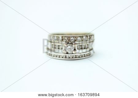 Diamond ring stack: engagement ring wedding band and anniversary band