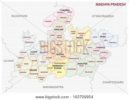 Madhya Pradesh administrative and political vector map