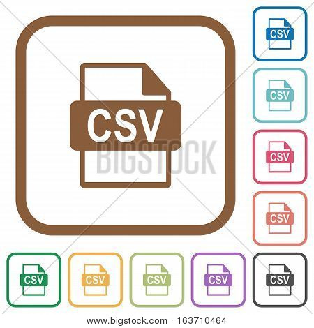 CSV file format simple icons in color rounded square frames on white background