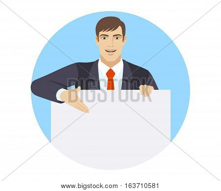 Businessman holding white blank poster. Businessman showing blank signboard. Portrait of businessman in a flat style. Vector illustration.
