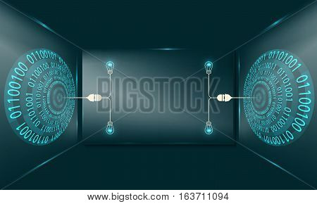 Two abstract circles with binary code and glass panel with bulbs