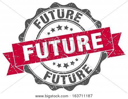 future. stamp. sign. seal. round. retro. ribbon