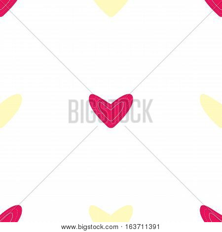 Seamless pattern with dark pink and yellow hearts on white background