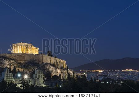 The Acropolis of Athens at dusk Greece