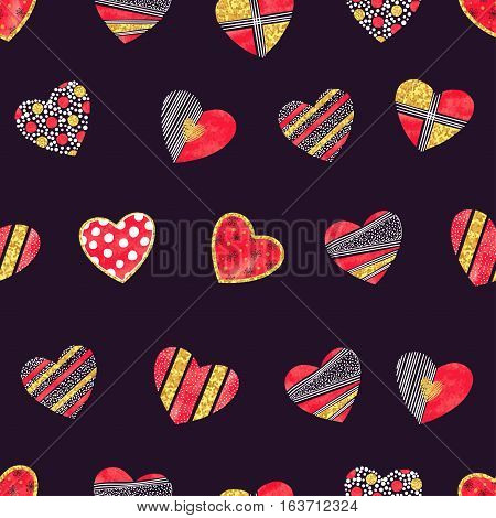 Valentines day background with patterned hearts. Vector romantic seamless pattern.