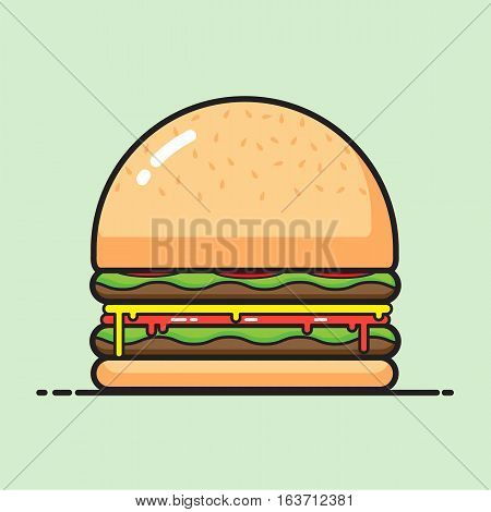 Burger on green background vector cartoon design.
