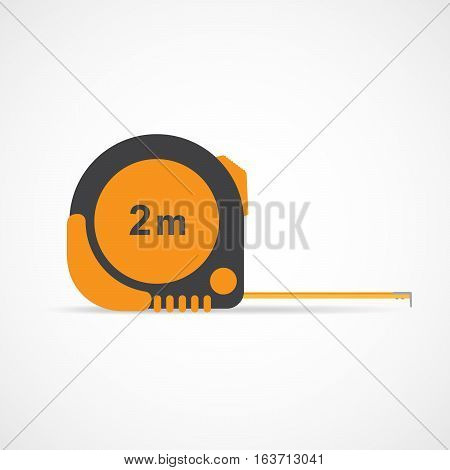 Tape-line isolated on the white background. Vector illustration. Orange measure roulette. Roulette construction symbol.