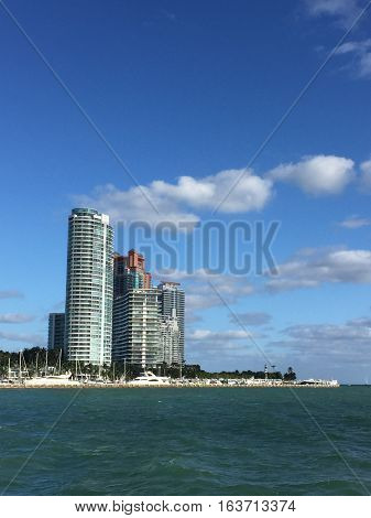 buildings overlooking biscayne bay in miami, florida