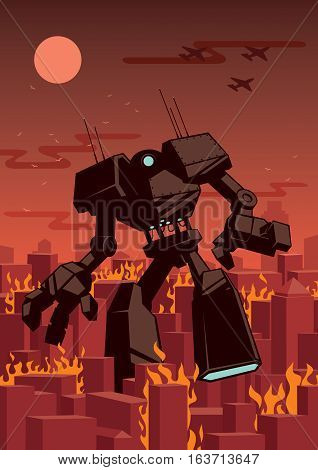 Giant robot walking in a burning city.