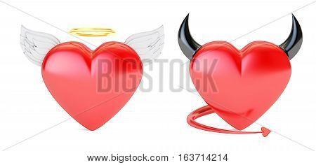 Angel and Devil Hearts 3D rendering isolated on white background
