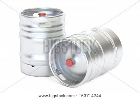 Beer metallic kegs closeup 3D rendering isolated on white background