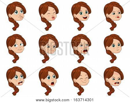 Big Set of cute little girl faces showing different emotions. Vector Illustration