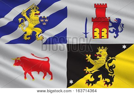 Flag of Vastra Gotaland County is a county on the western coast of Sweden. 3d illustration