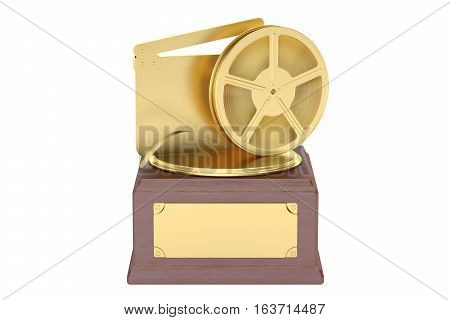 Best film award concept. 3D rendering isolated on white background