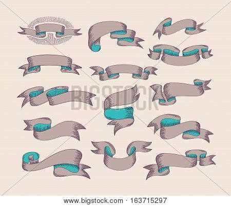 hand drawing ribbon set in engraving old vintage style design element, label, badge and borders collection vector illustration