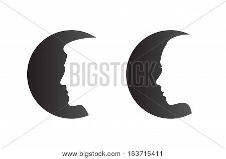Male and Female heads on black cicles set - isolated vector illustration