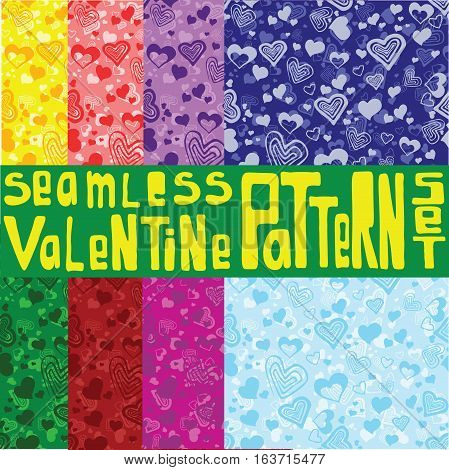 Eight colored seamless patterns with ornament with hearts. Bright and colored seamless patterns.