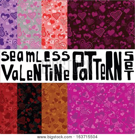 Eight different colored seamless patterns with ornament with hearts