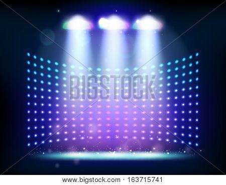 scene illumination show, bright lighting with spotlights, floodlight disco vector illustration