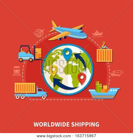 Flat colored logistic composition with worldwide delivery by all types of transport vector illustration