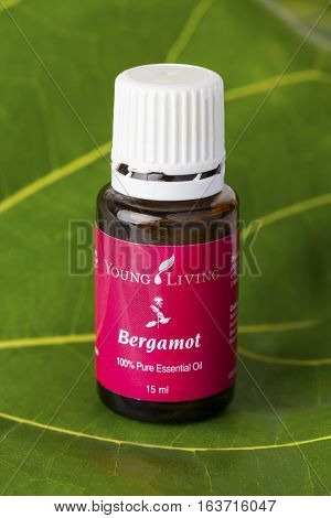 VILNIUS, LITHUANIA - 02 JANUARY,  2017: Bottle of Young Living Bergamot essential oil blend. One the most popular brands of essential oils in the world.