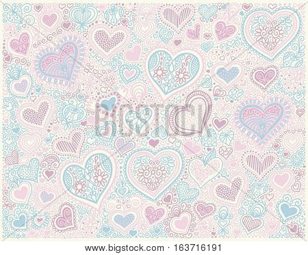 original hand drawing heart shape background in pastel colors to valentines day design, vector illustration