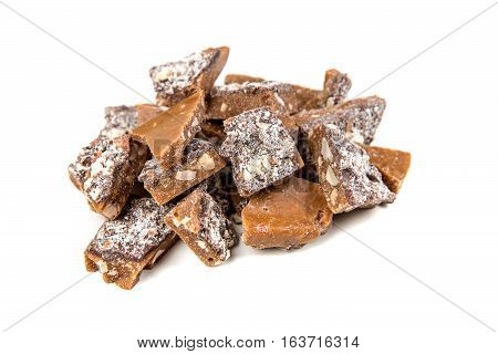 Homemade Almond Roca Isolated On A White Background