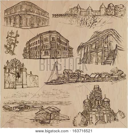 Architecture and famous places around the World. Collection of an hand drawn vector illustrations. Each drawing comprises of three layers of outlines the colored background is isolated.