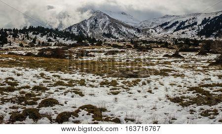 Winter Mountain Snowy Landscape Near Ski Center On Mount Helmos, Peloponnese