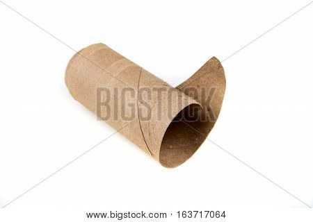 Unrolled Toilet Paper Cylinder Isolated On A White Background