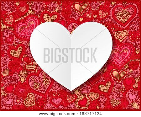 Valentines day white paper on hand drawing red heart shape background, vector illustration
