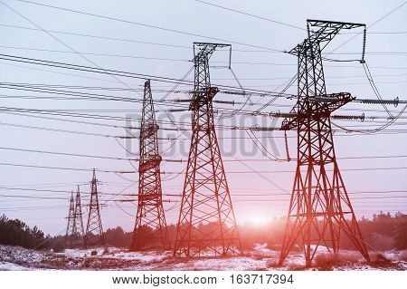 Electric power transmission or power grid pylon wires