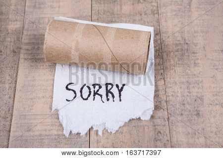 Toilet Paper Rolls Out Of Paper With Message Isolated On A Wood Background