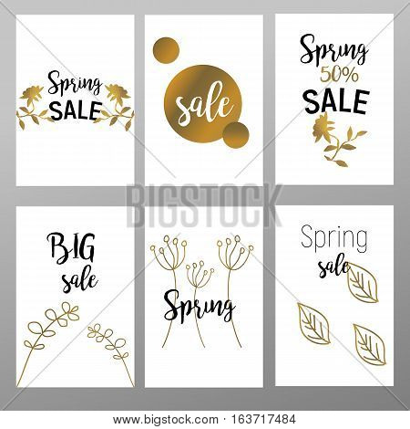 Flat design eye catching sale website banners for mobile phone. Spring gold