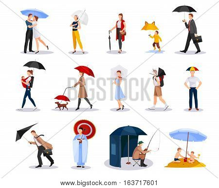 Collection of people with umbrellas of various shape including kids men and women isolated vector illustration