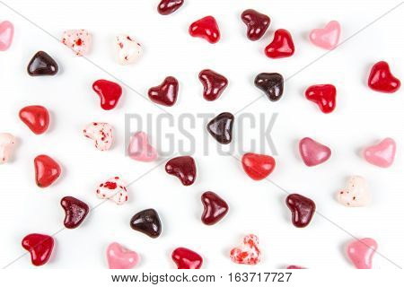 Valentine Colored Heard Shaped Jelly Beans Isolated On A White Background
