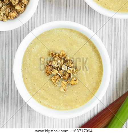 Fresh homemade sweet rhubarb mousse desserts with crunchy granola on top served in bowl photographed overhead with natural light (Selective Focus Focus on the top of the dessert)